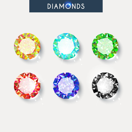 ruby stone: Set realistic diamond with reflex, glare and shadow