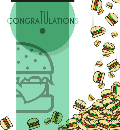 congratulatory: Background of the falling burgers with a congratulatory inscription for design of cards and others.  Illustration