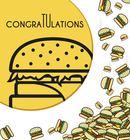 burger: Background of the falling burgers with a congratulatory inscription for design of cards and others.  Illustration