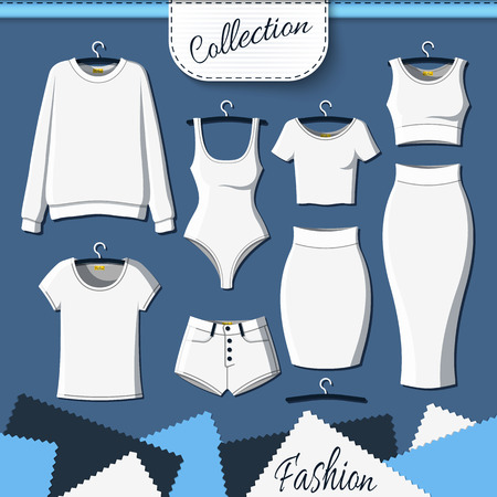 Set of white clothes to create design on dark  background. Sweatshirt and T-shirt. T-shirt and shorts. Swimsuit. Suit with skirt. Template clothing. Vector mock up