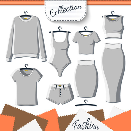 up skirt: Set of grey clothes to create design on white background. Sweatshirt and T-shirt. T-shirt and shorts. Swimsuit. Suit with skirt. Template clothing. Vector mock up