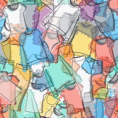 ropa de verano: Patrón transparente de ropa de colores para el diseño elegante. Patrón transparente. Antecedentes de la ropa. Ropa dispersada. Pinturas. Acuarela. Diseño de ropa. Vector