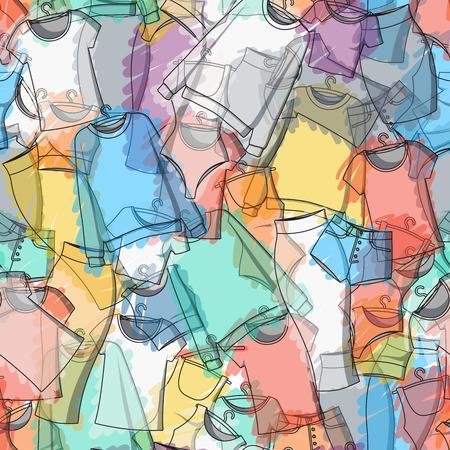 Seamless pattern of colorful clothes for stylish design. Transparent pattern. Background of clothing. Scattered clothes. Paints. Watercolor. Clothing design. Vector Ilustração