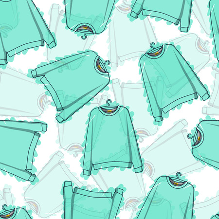 hoody: Seamless pattern of translucent blue sweatshirts. Transparent pattern. Background of clothing. Hoodies. Clothing design. Vector