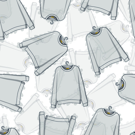 hoody: Seamless pattern of translucent grey sweatshirts. Transparent pattern. Background of clothing. Hoodies. Clothing design. Vector
