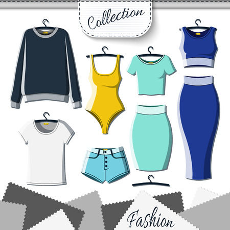 up skirt: Set of colored clothes to create design on white background. Sweatshirt and T-shirt. T-shirt and shorts. Swimsuit. Suit with skirt. Template clothing. Vector mock up