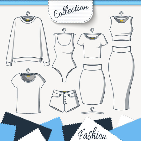 up skirt: Set of clothes to create design on white background. Sweatshirt and T-shirt. T-shirt and shorts. Swimsuit. Suit with skirt. Template clothing. Vector mock up Illustration