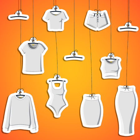 clothes hanging: Background with stickers of modern clothes hanging on a thread. Background with clothes. Bound label. Vector