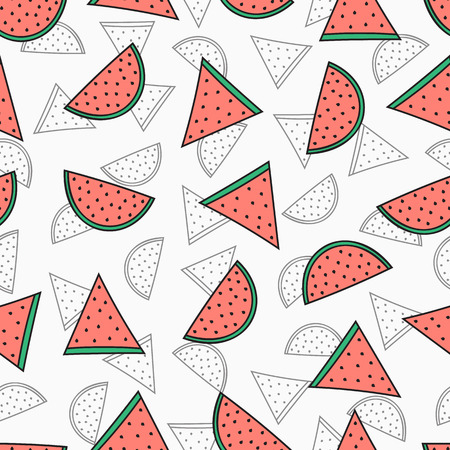 watermelon slice: Seamless pattern with color and monochrome unit in different sizes. Pattern of watermelons. Watermelon background for product design. Watermelon handmade. Vector