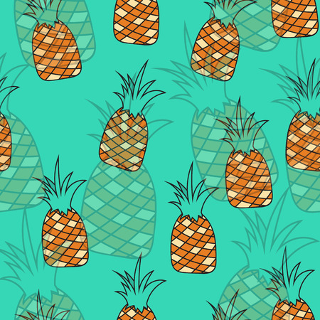 swag: Stylish seamless pattern of pineapples on a turquoise background. Background of pineapples. Swag background. Blend the background. Transparent pineapples. Pineapple pattern for product design