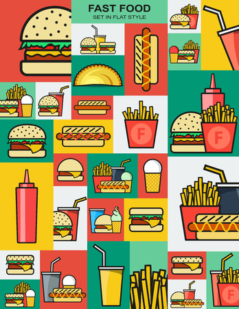 fried food: Set of retro icons with fast food burgers. Sandwiches and drinks. Fast food. Objects for design. Background of fast food. Hamburger and cheeseburger. French fries and a hotdog. Drink and fried food