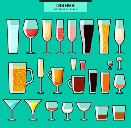 sektglas: Set mit verschiedenen isolierten Gläser mit einem Schlaganfall. Farbige Gläser. Gläser und Tassen. Glas und Glas. Geschirr für Alkohol und Getränke. Die gefüllten Gläser. Alkohol und Glas
