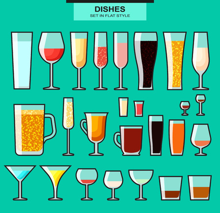 glass art: Set of different isolated glasses with a stroke. Colored glasses. Glasses and cups. Glass and glass. Dishes for alcohol and beverages. The filled glasses. Alcohol and glass