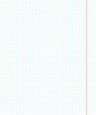 Foglio di carta nel design della gabbia. Foglia dal notebook. Carta per la scuola. Libro in gabbia. Foglio con margini rosso per le note. Carta in piazza Archivio Fotografico - 43435306