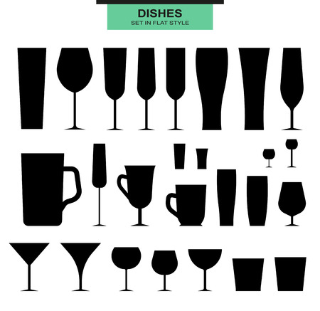 Set of isolated silhouettes of different glasses. Glasses and cups. Glass and glass. Dishes for alcohol and beverages. Empty glasses. Alcohol and glass. On a white background