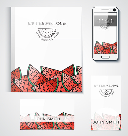 branded: Template branded products with fruit design. Design with watermelons. Background of watermelons. Design of the catalogue, design business cards, corporate identity. Illustration