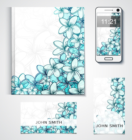 background cover: Design of branded products from the flowers. Floral background. Cover with flowers. Card with flowers. Corporate style. Design of business cards. Catalog design