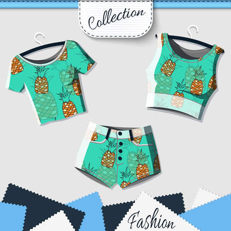 swag: Design clothes with prints of pineapples. Designer shorts and t-shirts with the background of pineapples. T-shirt with imprint. Prints of pineapples. Background of pineapples. Vector