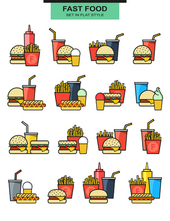 with sets of elements: Sets burgers with drinks, potato fries, and ice cream. Burger with fries. Objects of fast food. Glass with a drink. Elements of fast food. Hamburgers and hotdogs. Ice cream and sauces. Vector