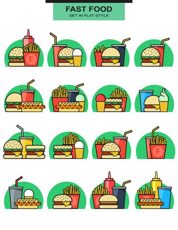 with sets of elements: Sets icons burgers with drinks, potato fries, and ice cream. Burger with fries. Objects of fast food. Glass with a drink. Elements of fast food. Hamburgers and hotdogs. Ice cream and sauces. Vector