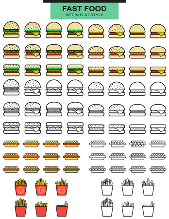 hotdogs: Large sets burgers, hot dogs and potato fries in lines. Burger with fries. Objects of fast food. Glass with a drink. Line style. Hamburgers and hotdogs. Ice cream and sauces
