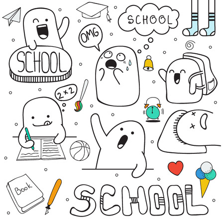 teen girl face: Set doodle characters, and school facilities. Anime character. Back to school. Portfolio and lessons. Schoolboy and raised hand. Soon the school. Home study. I do not want to go to school. School sign