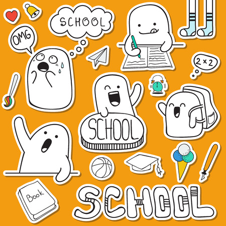 Set sticker doodle characters and school supplies. Anime character. Back to school. Portfolio and lessons. Schoolboy and raised his hands. Soon the school. Hometasks. I do not want to go to school