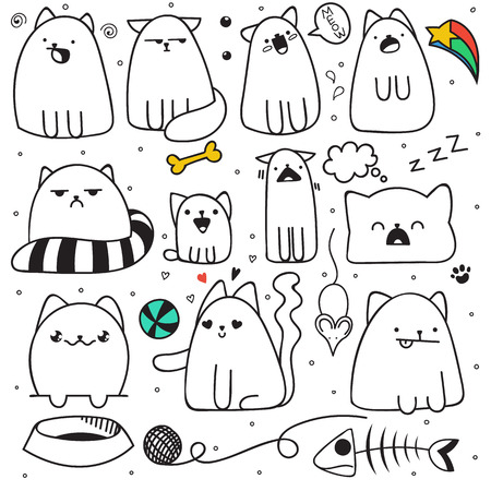 Set of 11 sticker doodle cats with different emotions. Cat handmade. Isolated cat for design. Sleeping cat. Surprised cat. Fish and mouse. The ball and the ball of yarn. Love cat. Speech bubble
