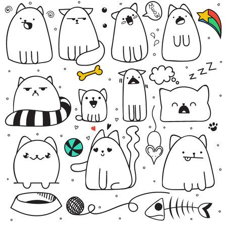 Set van 11 sticker doodle katten met verschillende emoties. Cat handgemaakt. Geïsoleerde kat voor ontwerp. Slapende kat. Verraste kat. Vis en muis. De bal en de bal van garen. Liefde kat. Spraak bubbel Stock Illustratie