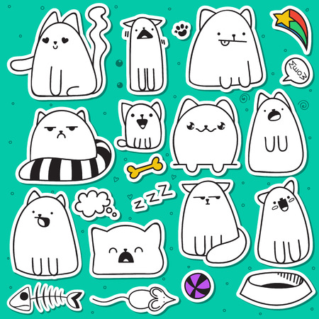 baby stickers: Set of 11 doodle cats with different emotions. Cat handmade. Isolated cat for design. Sleeping cat. Surprised cat. Fish and mouse. The ball and the ball of yarn. Love cat. Speech bubble Illustration