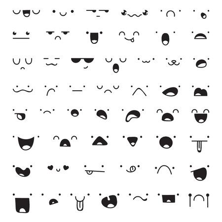 riendose: Conjunto de 52 piezas diferentes de emociones doddle para crear personajes. Emociones para el dise�o. Animado. La ira y la alegr�a. Sorprendido y dolido. La indiferencia y el shock. Risas y l�grimas. Emociones hechos a mano