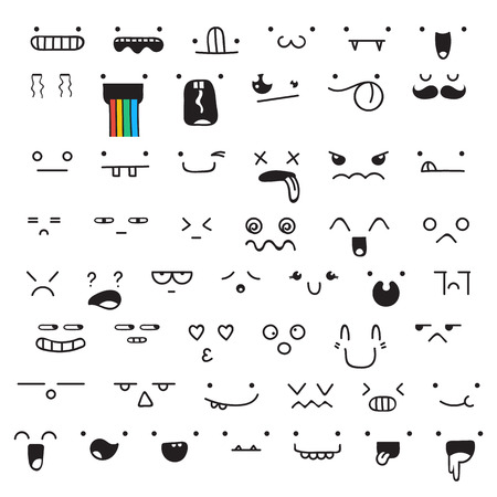 Set of 50 different pieces of doddle emotions to create characters. Emotions for design. Anime. Anger and joy. Surprised and hurt. Indifference and shock. Laughter and tears. Emotions handmade