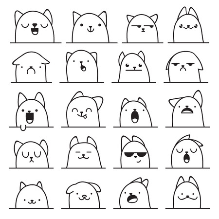Set of 20 different doodle emotions cat. Emotions for design. Anime. Icons cat emotion. Anger and joy. Surprised and hurt. Indifference and shock. Laughter and tears. Indifference and bewilderment