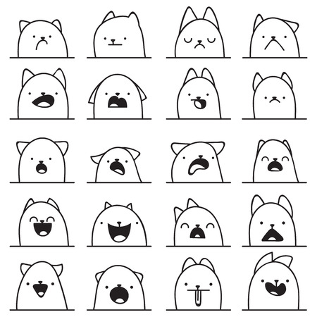 cute kitten: Set of 20 different doodle emotions cat. Emotions for design. Anime. Icons cat emotion. Anger and joy. Surprised and hurt. Indifference and shock. Laughter and tears. Indifference and bewilderment