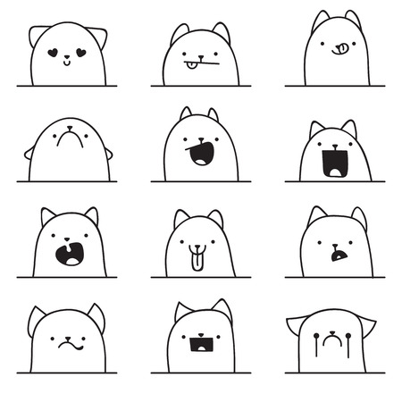 Set of 12 different doodle emotions cat. Emotions for design. Anime. Icons cat emotion. Anger and joy. Surprised and hurt. Indifference and shock. Laughter and tears. Indifference and bewilderment