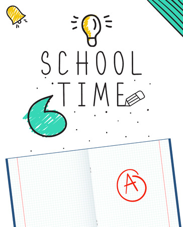 school time: background with stationery and text school time on white