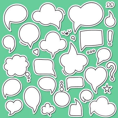 Set of isolated sticker bubbles dialogues. Thought bubble. Dialog bubble. Bubble comic. Blank bubble for design