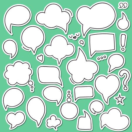 Set van geïsoleerde sticker bubbels dialogen. Gedachte bel. Dialoogvenster bubble. Bubble comic. Blank bubble voor het ontwerp