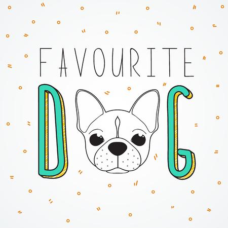 Achtergrond Franse Bulldog voor het ontwerp en de inrichting. Achtergrond met de woorden favoriete hond. Handgemaakte Hond