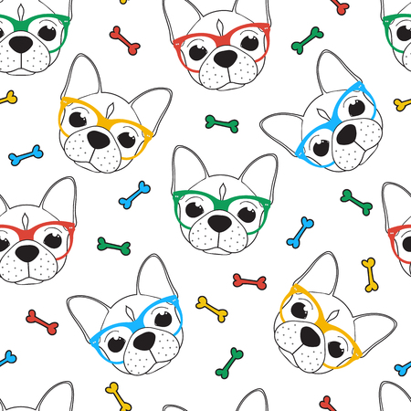 メガネでブルドッグとシームレスな落書きヒップスター パターン。流行に敏感なスタイリッシュなパターン。フレンチ ブルドッグのパターン。ブルドッグとの背景。色付きメガネでフレンチ ブルドッグ。犬と背景