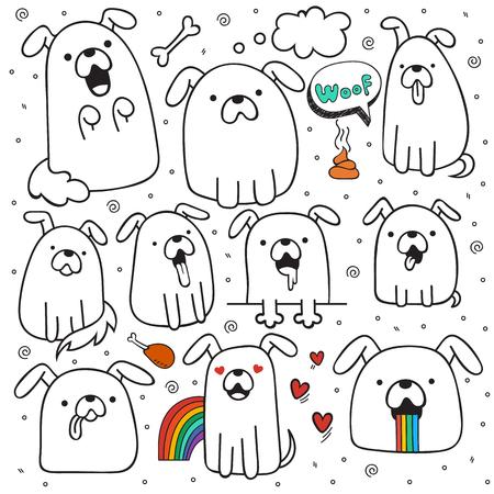 dog outline: Set of 10 dogs doodle handmade. Dogs with emotions. Painted dog. Sketch dog. Accessories for dogs. Design elements with animals. Dogs for design