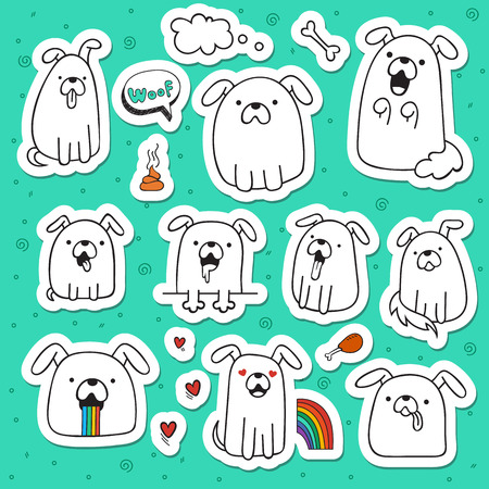 Set of 10 dogs doodle handmade stickers. Dogs with emotions. Painted dog. Sketch dog. Accessories for dogs. Design elements with animals. Dogs for design