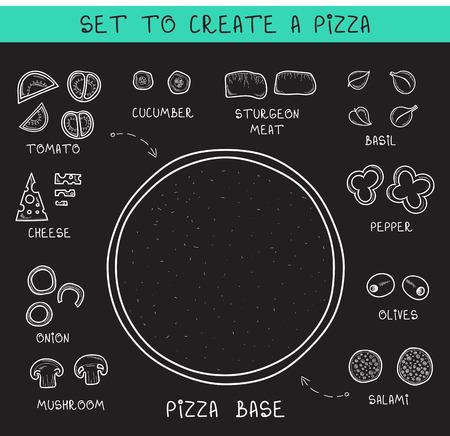 pizza: Doodle fijó ingredientes de tiza para crear pizza. Pizza de la plantilla. Verduras en rodajas. Boceto y Doodle pizza. Ensamble pizza. Tomates y pepinos. Masa y aceitunas. Embutidos y carnes. Queso Vectores
