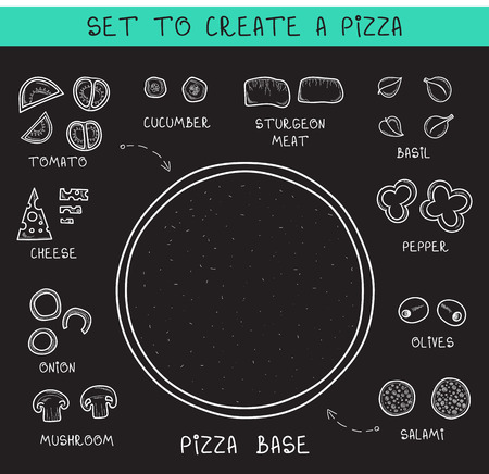 Doodle set ingredients of chalk to create pizza. Template pizza. Sliced vegetables. Sketch and Doodle pizza. Assemble pizza. Tomatoes and cucumbers. Dough and olives. Salami and meat. Cheese Stock Illustratie