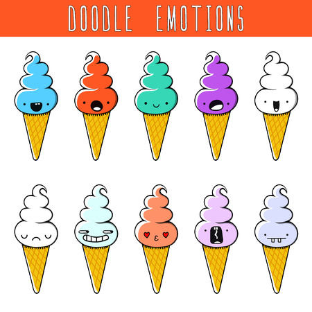 sweet love: Set of 10 colored doodle ice cream with emotions. Sweet ice cream. Smiling and angry. Love and surprise. Dessert handmade. Sketch. Isolated dessert