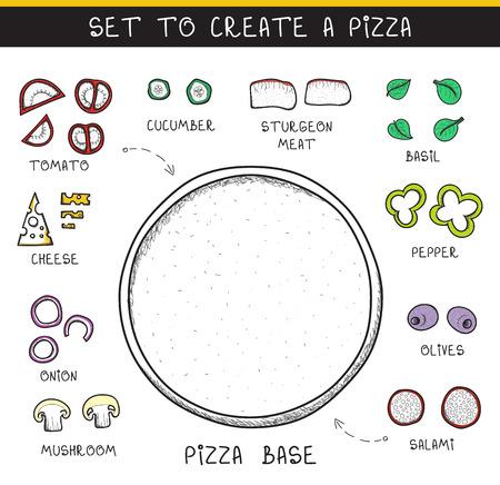pizza: Doodle conjunto de ingredientes para construir pizza. Pizza de la plantilla. Verduras en rodajas. La pizza Sketch. La pizza del Doodle. Montar la pizza. Tomates y pepinos. La masa y las aceitunas. Embutidos y carnes. Queso Vectores