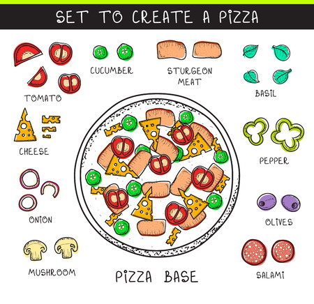 pizza dough: Doodle set of ingredients to build  pizza. Template pizza. Sliced vegetables. Sketch pizza. Doodle pizza. Assemble the pizza. Tomatoes and cucumbers. The dough and olives. Salami and meat. Cheese