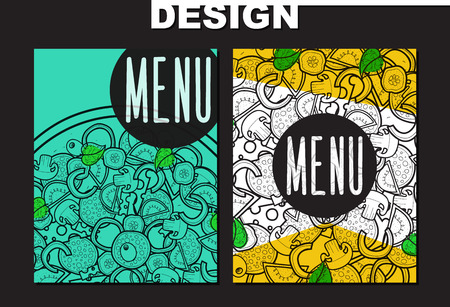pizza ingredients: Design menu with doodle pizza. Sketch pizza. Design menu, brochure. Billboard and poster. Letterhead. Design printed product. Sketch ingredient. Pizza handmade. Hipster. Retro