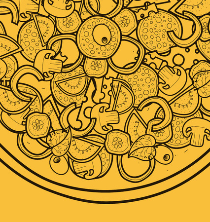pizza ingredients: Template background with pizza doodle designs for posters, brochures, menus, flyers. Yellow background. Sketch pizza. Doodle Pizza