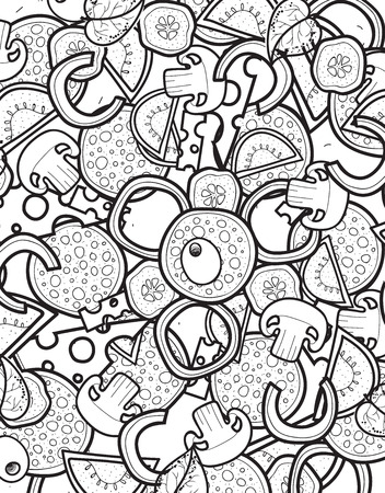 cartoon pizza: Design background doodle of pizza with ingredients. Sketch pizza for the entire background. Detailed pizza. The background for the restaurant menu. Design menu. Cartoon pizza Illustration